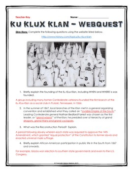Ku Klux Klan - Webquest with Key