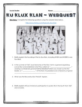 Ku Klux Klan - Webquest with Key