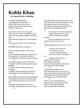 kubla khan by coleridge Kubla khan was written in 1798 but not published until 1816 it was then issued in a pamphlet containing christabel and the pains of sleep it is one of those three poems which have made coleridge, one of the greatest poets of england, the other two being the rime of the ancient mariner and christabel.