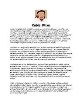 Kublai Khan Biography Article and Assessment
