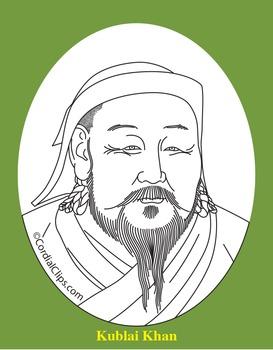Kublai Khan Clip Art, Coloring Page, or Mini-Poster