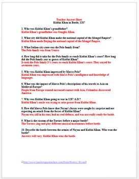 Kublai Khan in Battle, 1287: Mongol Empire Primary Source Worksheet