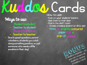 Kuddos Cards - positive notes for students, staff, and parents!