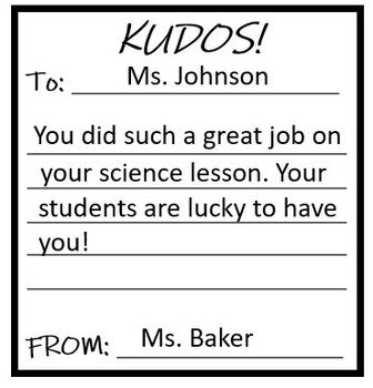 Kudos Cards! For Staff Morale and Positive Reinforcement for Students