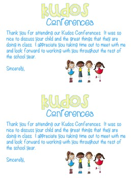 Kudos Conferences - A new spin on parent conferences!  Editable