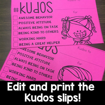 Kudos: Positive Notes for Students (Editable Version)