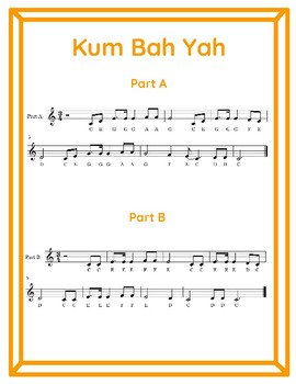 Kum Bah Yah Duet for 2 Recorders (C Major Scale in 3/4 Time)
