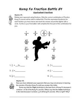 Kung Fu Fractions: Equivalent Fractions, Mixed Numbers, Improper Fractions