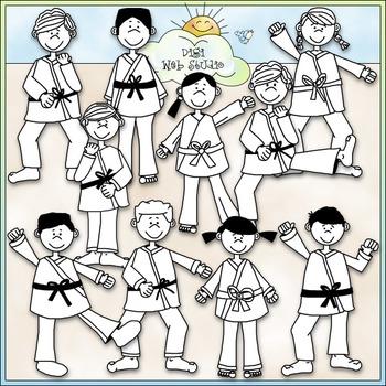 Kung Fu Kids Clip Art - Karate Clip Art - Taekwondo Clip Art - CU Clip Art & B&W