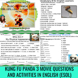 "Kung Fu Panda 3 (Movie) Questions Bonus English ""Descriptions"" Vocabulary Sheets"