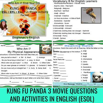 Kung Fu Panda 3 Movie Questions Bonus English Descriptions Vocabulary Sheets