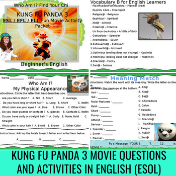 Kung Fu Panda 3 Movie Activity Packet For English learners