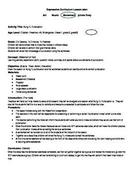 Kung-Fu Punctuation Lesson and Worksheet