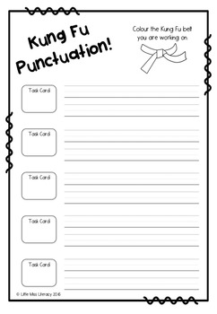 Kung Fu Punctuation Task Cards