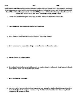 Kurt Vonnegut Short Story Worksheet