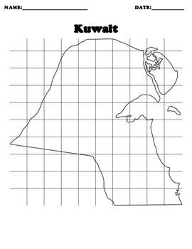 Kuwait Coordinate Grid Map Blank