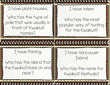 Kwakiutl Native Americans I Have, Who Has? Whole Group Hook