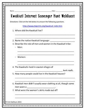 Kwakiutl American Indians of the Northwest Internet Scavenger Hunt WebQuest