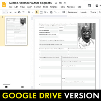 Kwame Alexander Author Study Worksheet, Easy Biography Activity, CCSS
