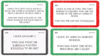 The History, Events, and Artifacts of Kwanzaa I Have Who Has Activity