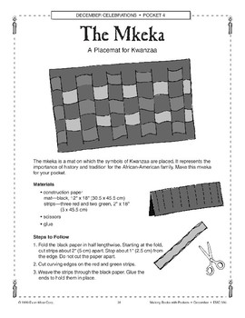 Kwanzaa Art Projects: Booklet and Placemat