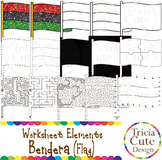 Kwanzaa Bendera Flag Worksheet Elements Clip Art for Tracing Cutting Puzzle Maze
