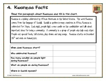 Kwanzaa Center Packet for First and Second Grade