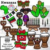 Kwanzaa Clipart {Accents: Unity Cup, Kinara, Bendara, Drum