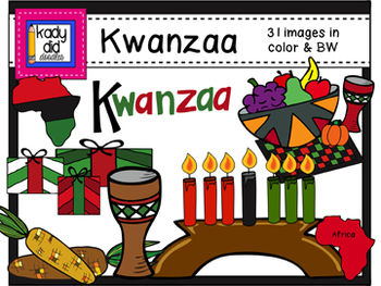 Kwanzaa Clipart Set - 31 color & BW images