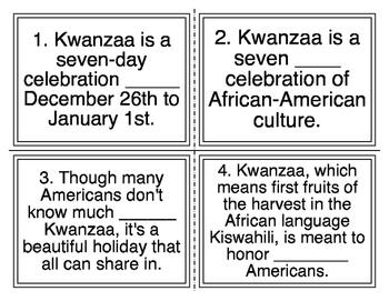 Kwanzaa Cloze Task Cards (26 Cards)
