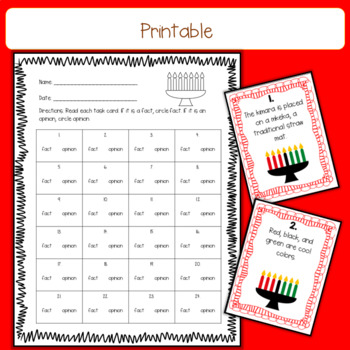 Kwanzaa Fact and Opinion Task Cards