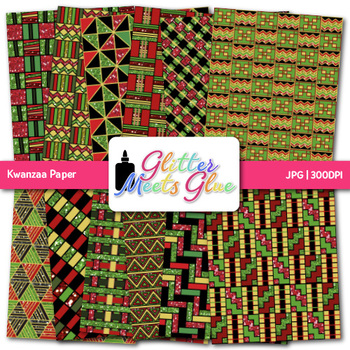 Kwanzaa Paper {Scrapbook Backgrounds for Worksheets and Resources}