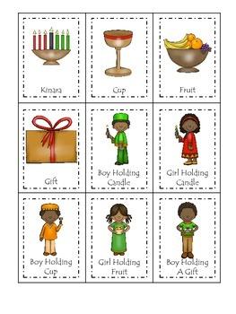 Kwanzaa Holiday themed Three Part Matching preschool printable activity.