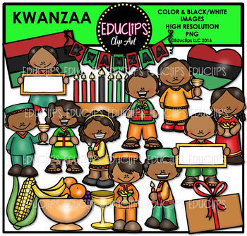 Kwanzaa Kids Clip Art Bundle {Educlips Clipart}