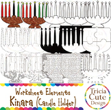 Kwanzaa Clip Art Kinara Worksheet Elements for Tracing Cutting Puzzle Maze