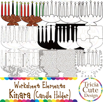 Kwanzaa Clip Art Kinara Worksheet Elements for Tracing Cutting Puzzle Maze