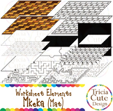 Kwanzaa Mkeka Mat Worksheet Elements Clip Art for Tracing Cutting Puzzle Maze