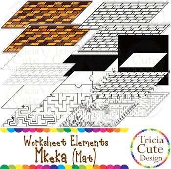 Kwanzaa Mkeka Mat Worksheet Elements Clip Art for Tracing Cutting Puzzle Maze