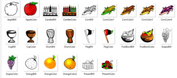 Kwanzaa  Objects Clip-Art! 24 pieces B/W and COLOR!