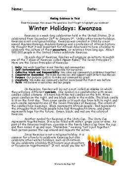 Kwanzaa Passage - Finding Textual Evidence