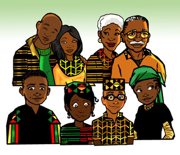Kwanzaa People and Objects Clip-Art COMBO! 36 pieces B/W and COLOR!