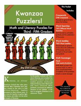Kwanzaa Puzzlers!  6 Math and Literacy Puzzles for 3rd - 5th Grade