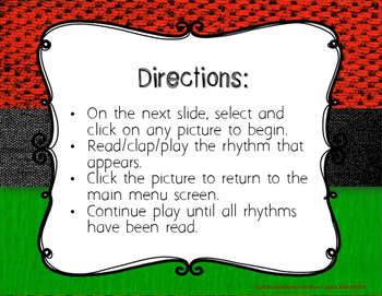 Kwanzaa Rhythms - Interactive Reading Practice Game {ti tika}