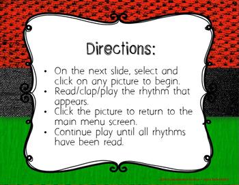 Kwanzaa Rhythms - Interactive Reading Practice Game {triple ti}