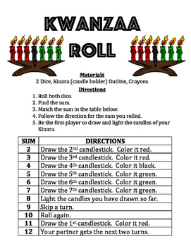 Kwanzaa Roll - A 2-Player Math Game & Activity to Practice Finding the Sum