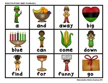 """Kwanzaa: """"Roll, Say, Keep!"""" Pre-Primer Dolch Sight Words Center + Extra"""