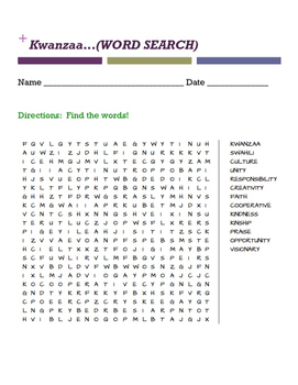 Kwanzaa…(WORD SEARCH)