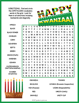 Kwanzaa Word Search Puzzle