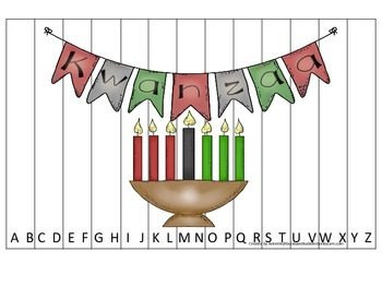 Kwanzaa themed Alphabet Sequence Puzzle.  Preschool learning game.