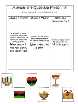 Kwanzaa themed Answer the Question printable game.  Preschool activity.